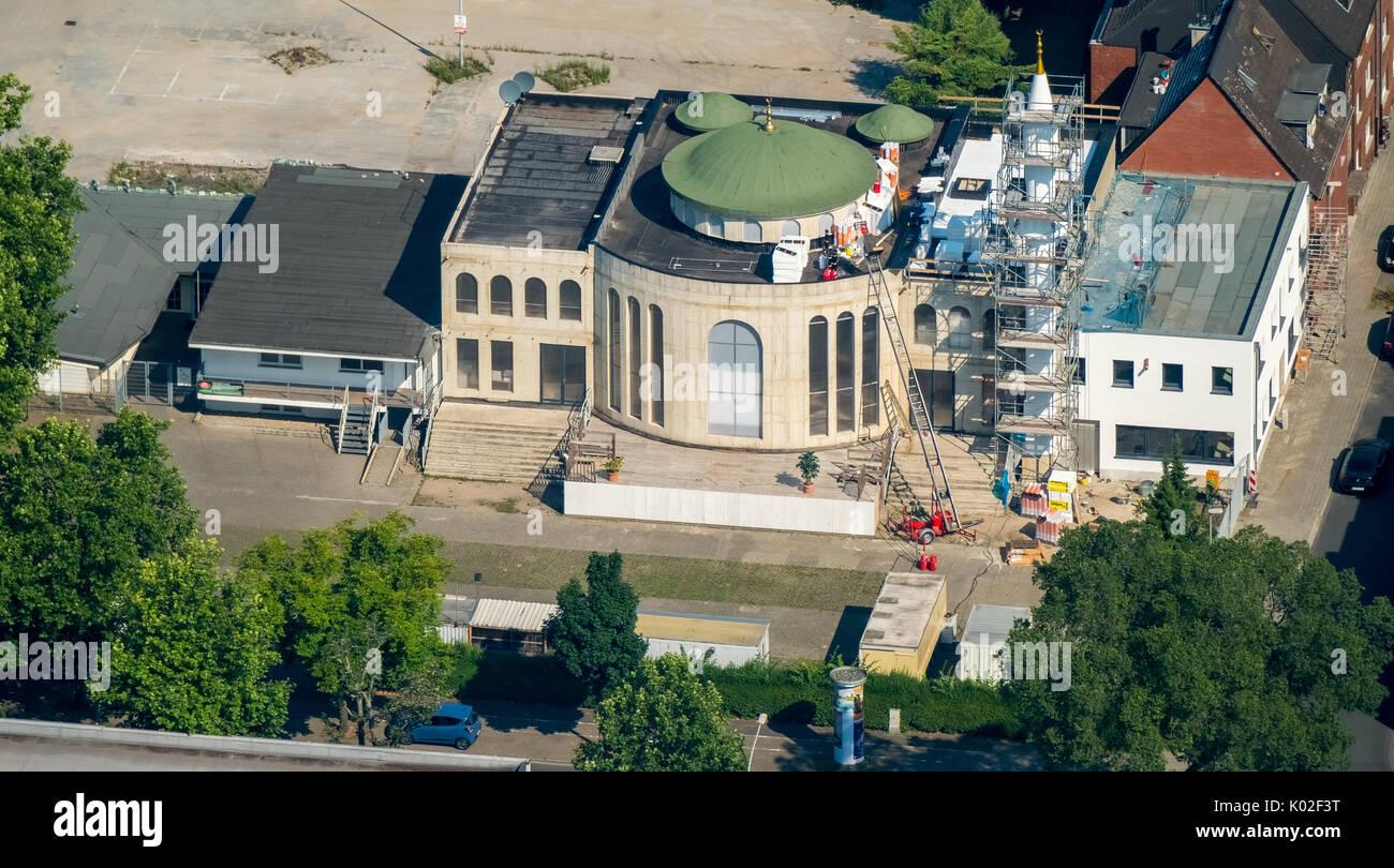 Moschee-Neubau Duisburger Straße Albertstraße,  Oberhausen, Ruhrgebiet, Nordrhein-Westfalen, Deutschland, Europa, Luftaufnahme, Luftbild, Luftbildfoto - Stock Image
