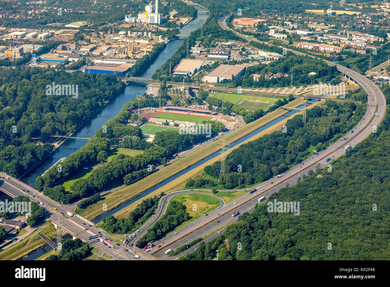 Stadion Niederrhein, neue Nordtribüne, Sport- und Freizeitanlage SSB, Emscherbereich nördlich des Stadiona,  Oberhausen, Ruhrgebiet, Nordrhein-Westfal - Stock Image