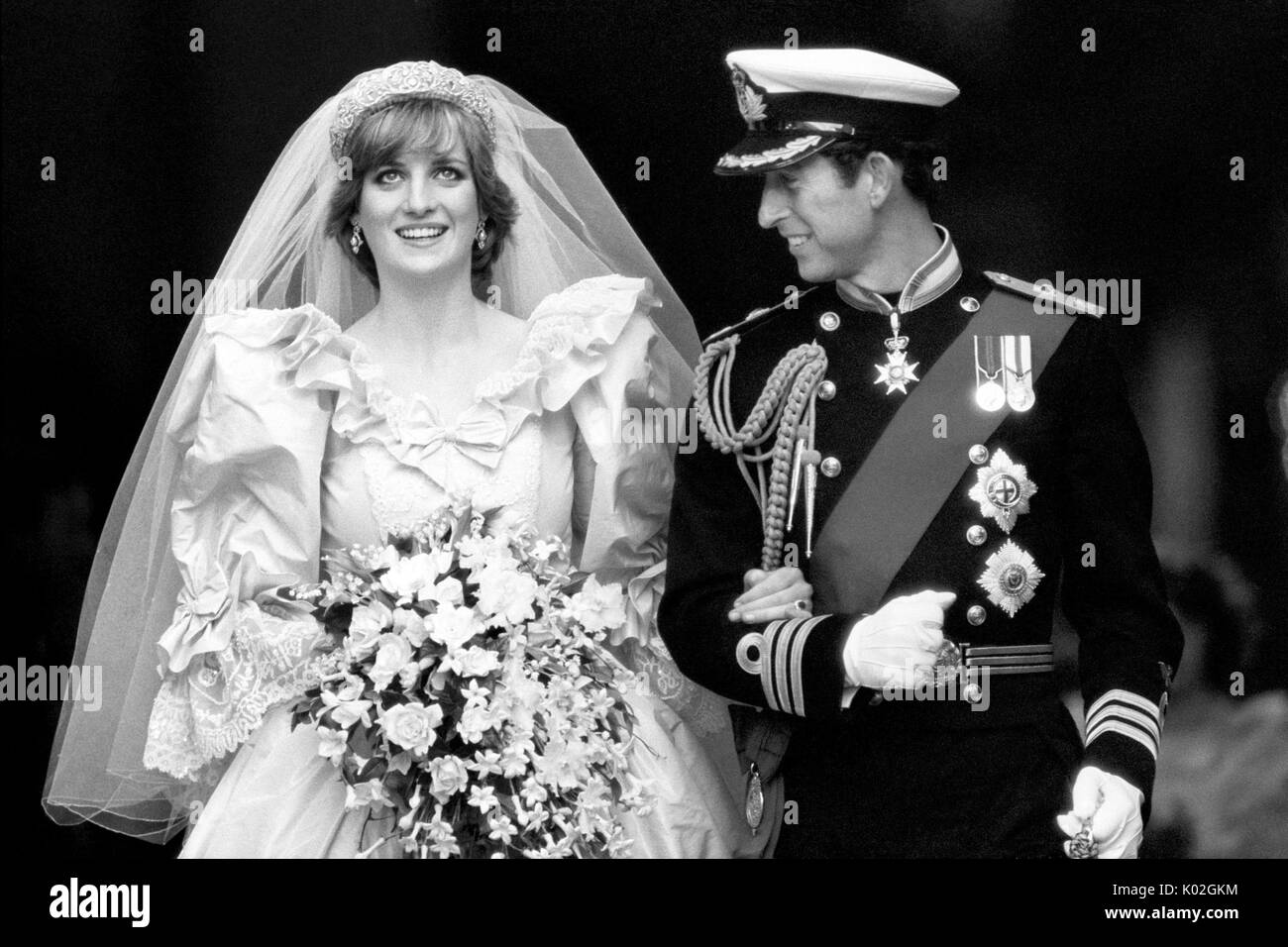 """File photo dated 29/07/81 of the Prince and Princess of Wales on their wedding day. Diana, Princess of Wales was a woman whose warmth, compassion and empathy for those she met earned her the description the """"people's princess"""". - Stock Image"""