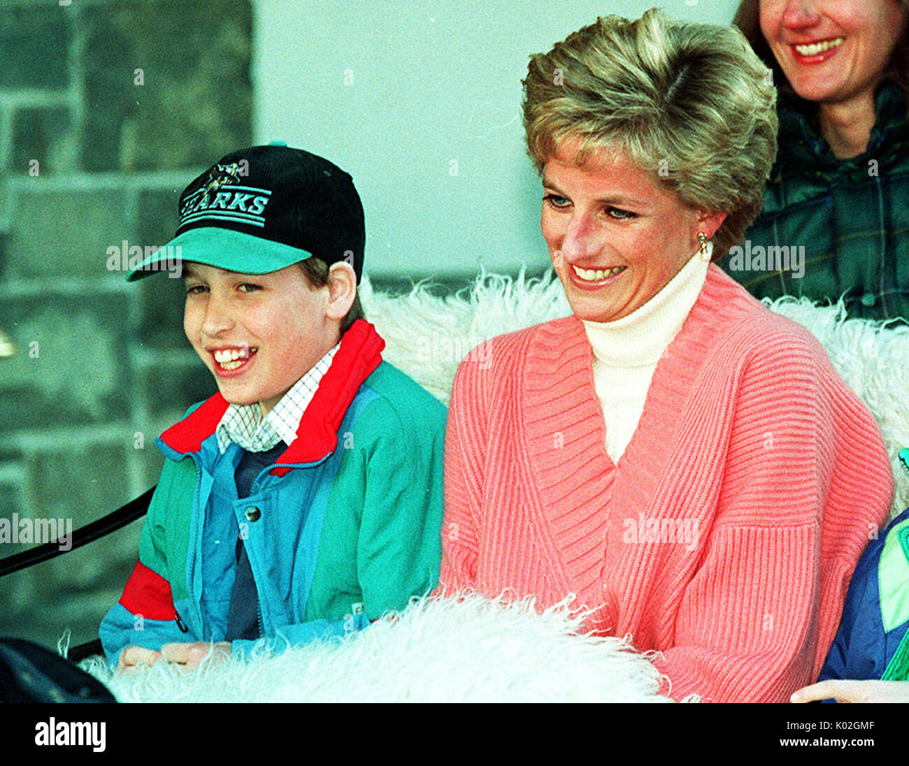 """File photo dated 27/3/1994 of Prince William with his mother, Diana, Princess of Wales. Diana, Princess of Wales was a woman whose warmth, compassion and empathy for those she met earned her the description the """"people's princess"""". - Stock Image"""