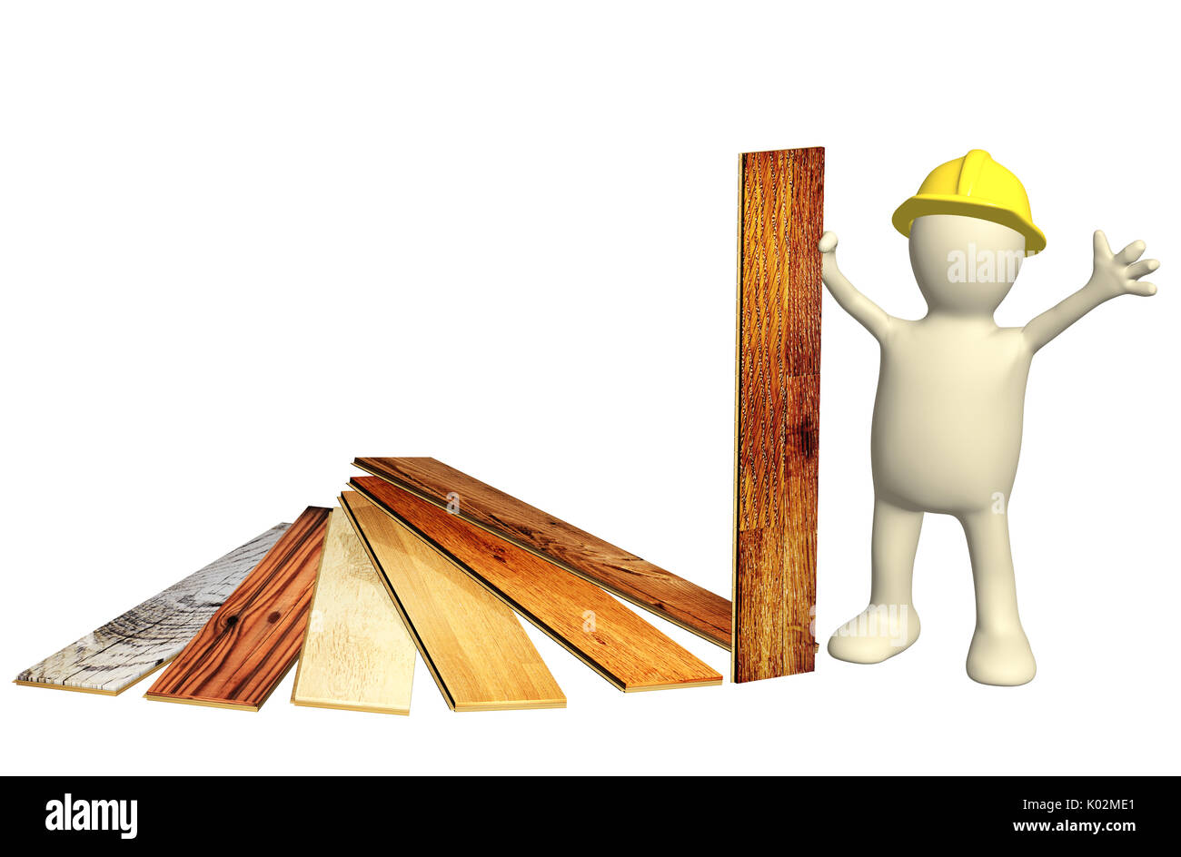 3d builder with new parquet planks. Isolated on white background. 3d render - Stock Image