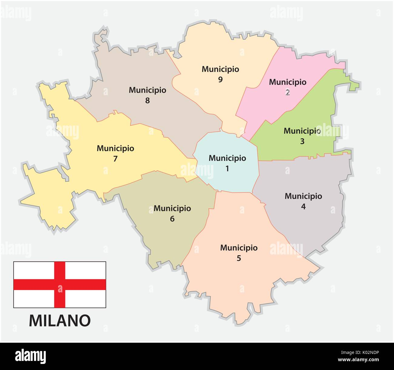 Administrative and political map of the Lombard capital Milan with flag - Stock Vector