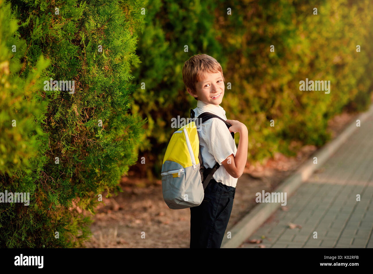 First day at school. Elementary Student, Little Boys, Backpack. - Stock Image