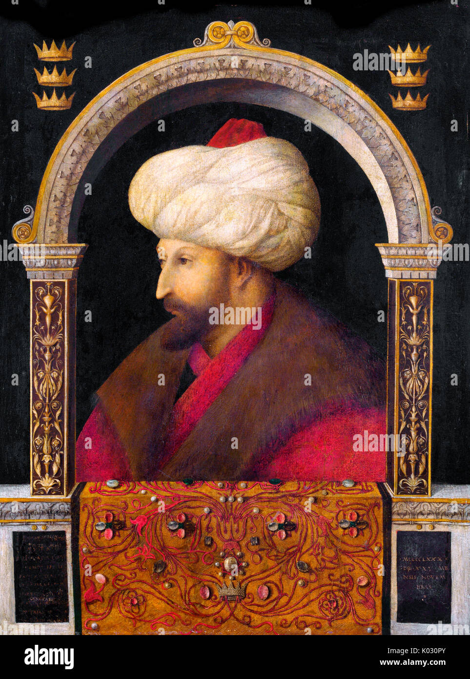 The Portrait of Ottoman Sultan Mehmed the Conqueror by Italian painter Gentile Bellini, 1480. - Stock Image