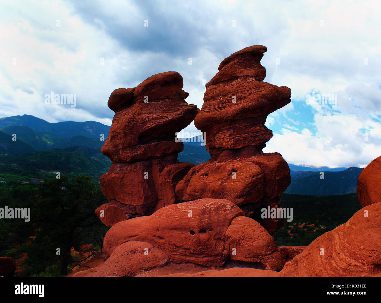 Garden of the Gods is located in Colorado Springs, Colorado, US. It is designated a National Natural Landmark. - Stock Image