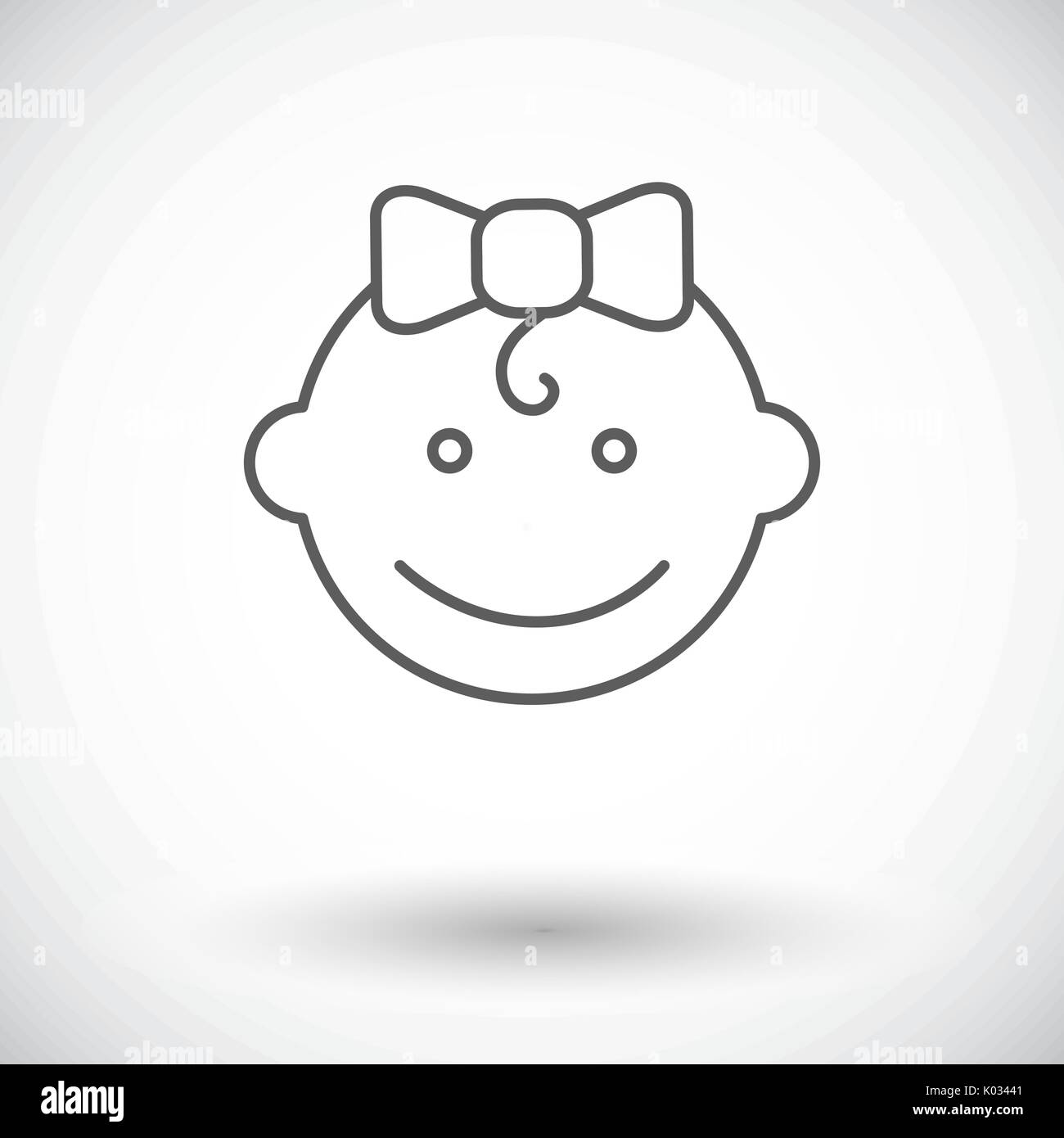 Baby girl icon. Thin line flat vector related icon for web and mobile applications. It can be used as - logo, pictogram, icon, infographic element. Ve - Stock Vector