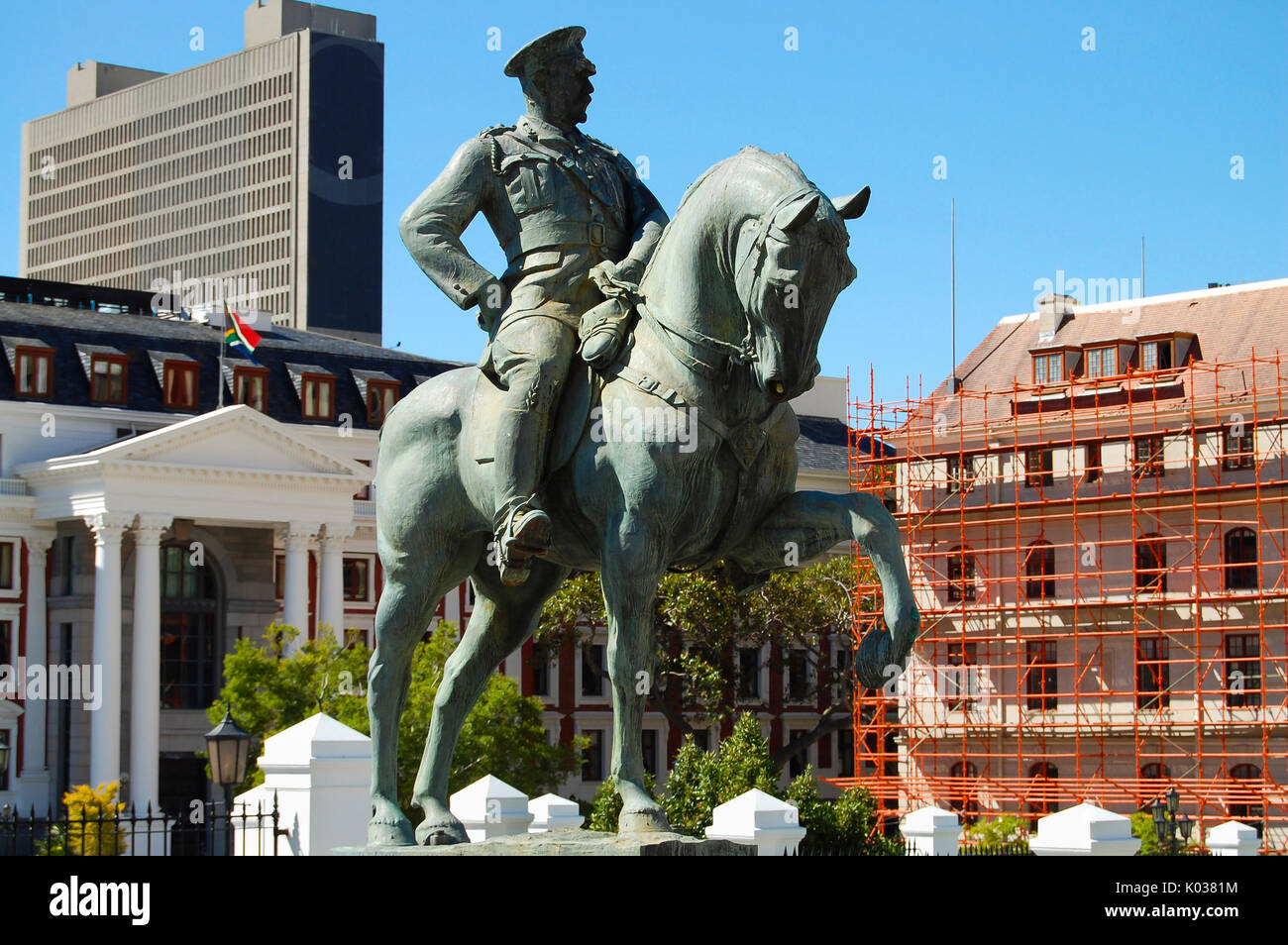 Lovis Botha Statue - Cape Town - South Africa - Stock Image