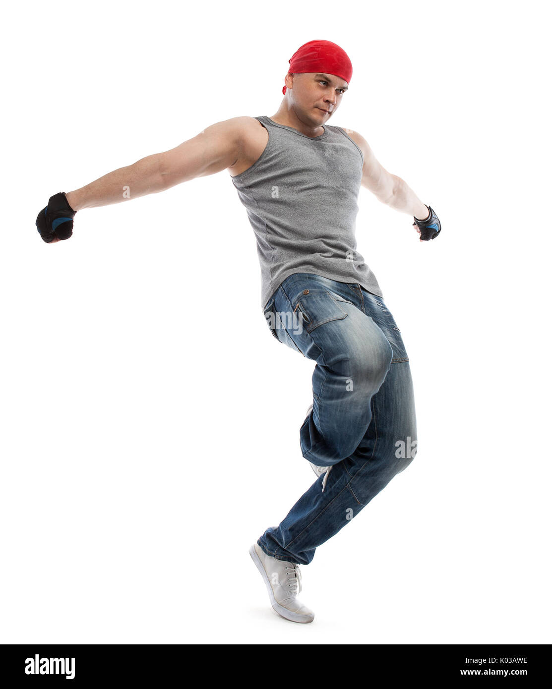 Hip-hop dancer, isolated with clipping pach - Stock Image
