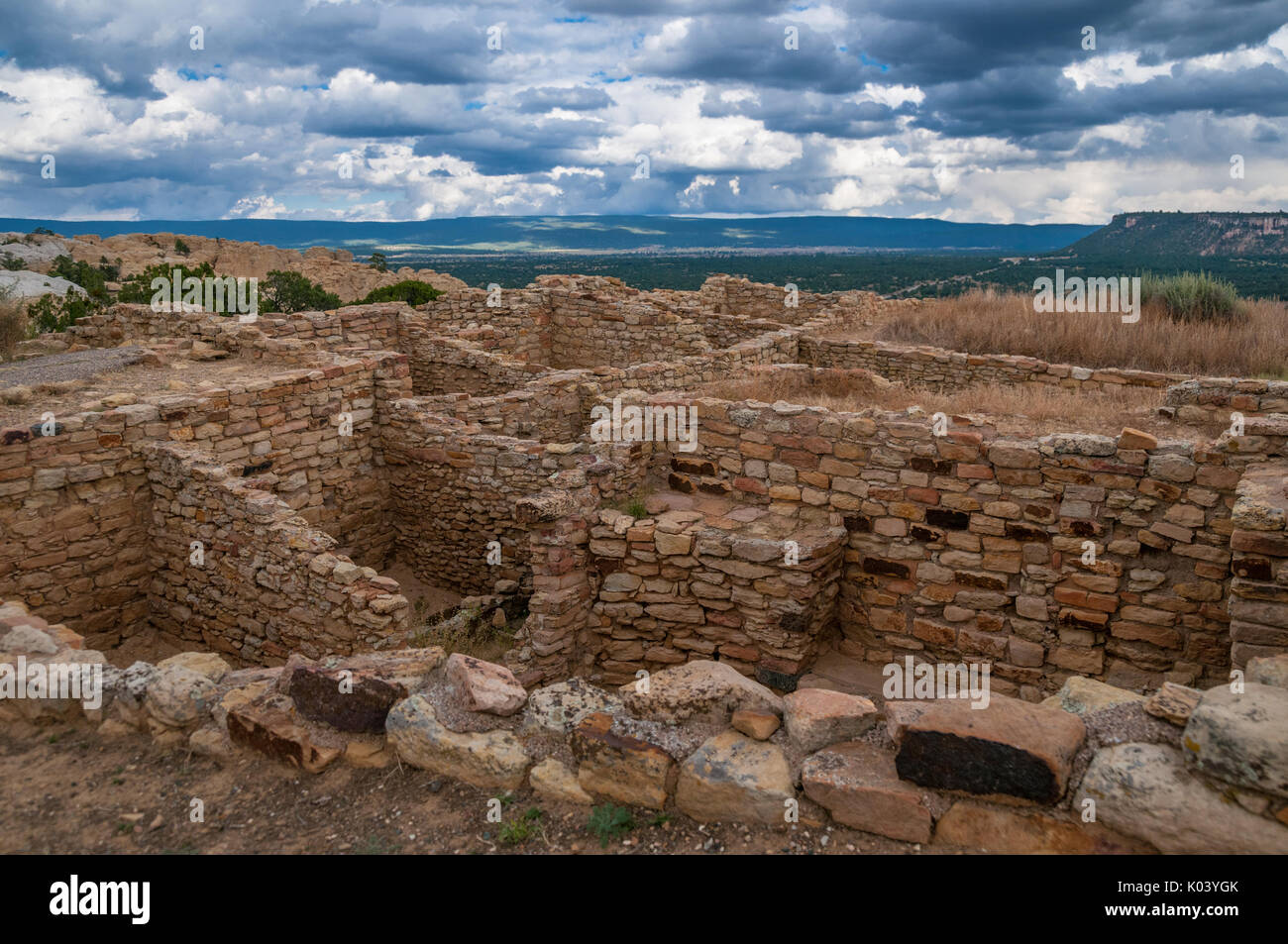 Ancient Puebloan ruin  named by Zuni Indians Atsinna, place of writings on rock, El Morro National Monument, New Mexico, USA. - Stock Image