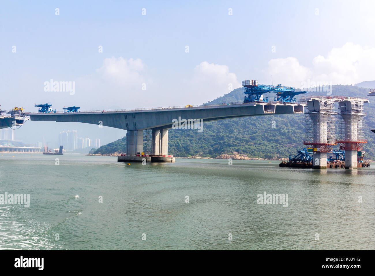 Hong Kong–Zhuhai–Macau Bridge ongoing construction project consisting of a series of bridges and tunnels crossing the Lingdingyang channel to connect  - Stock Image