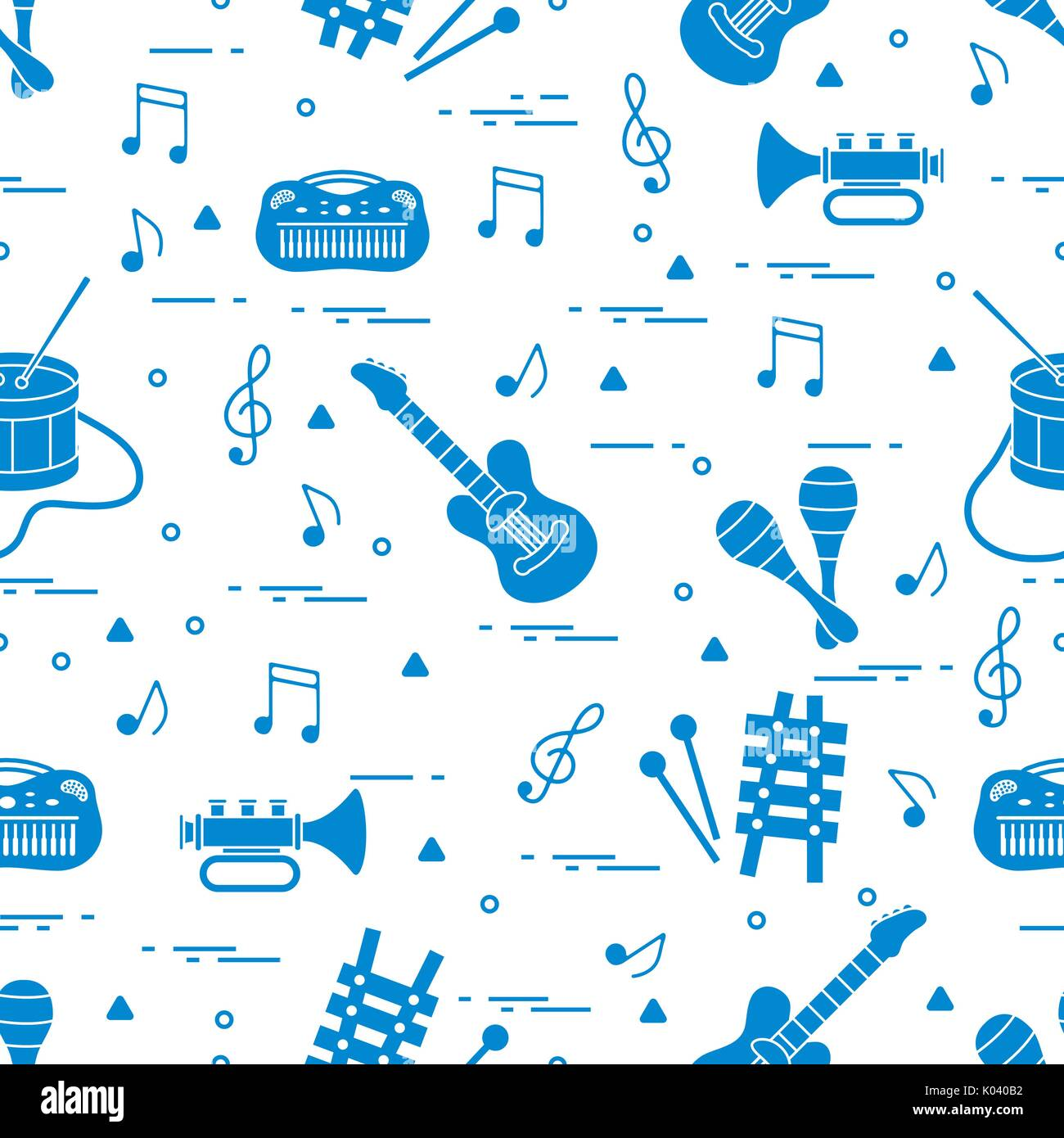 Vector Pattern Of Sheet Music And Diffe Musical Toys Guitar Drum Trumpet