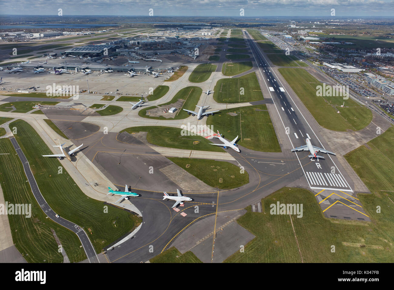 An aerial view of Heathrow Airport, the UK's busiest - Stock Image
