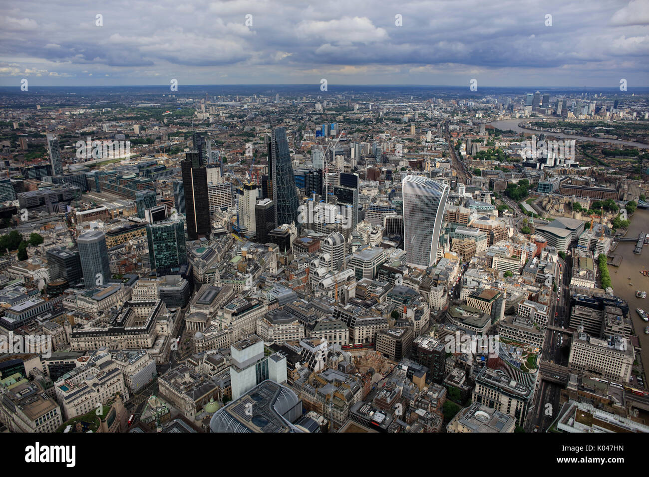 An aerial view of the skyscrapers in the City of London - Stock Image
