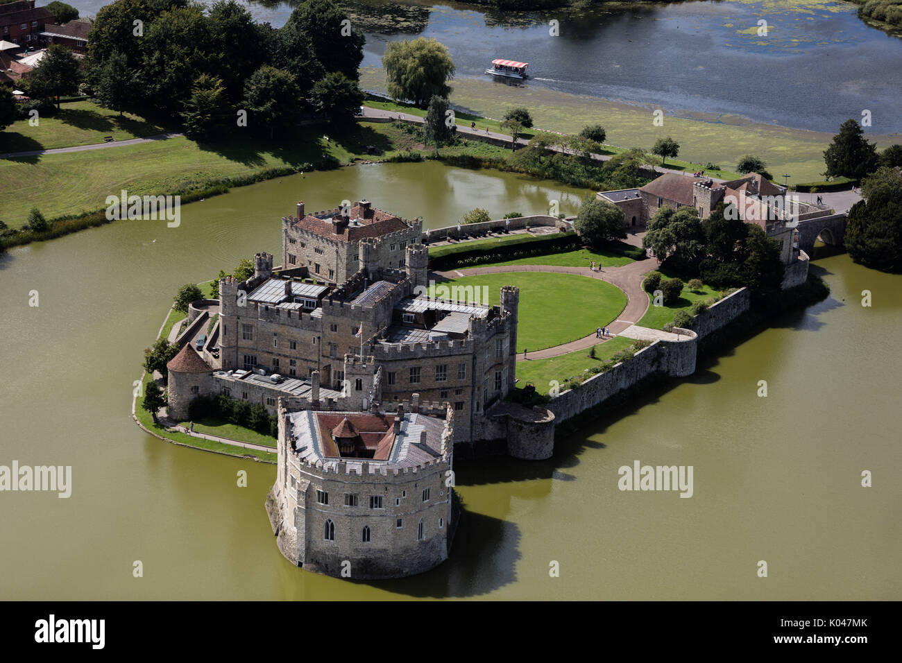 An aerial view of Leeds Castle, Kent. - Stock Image