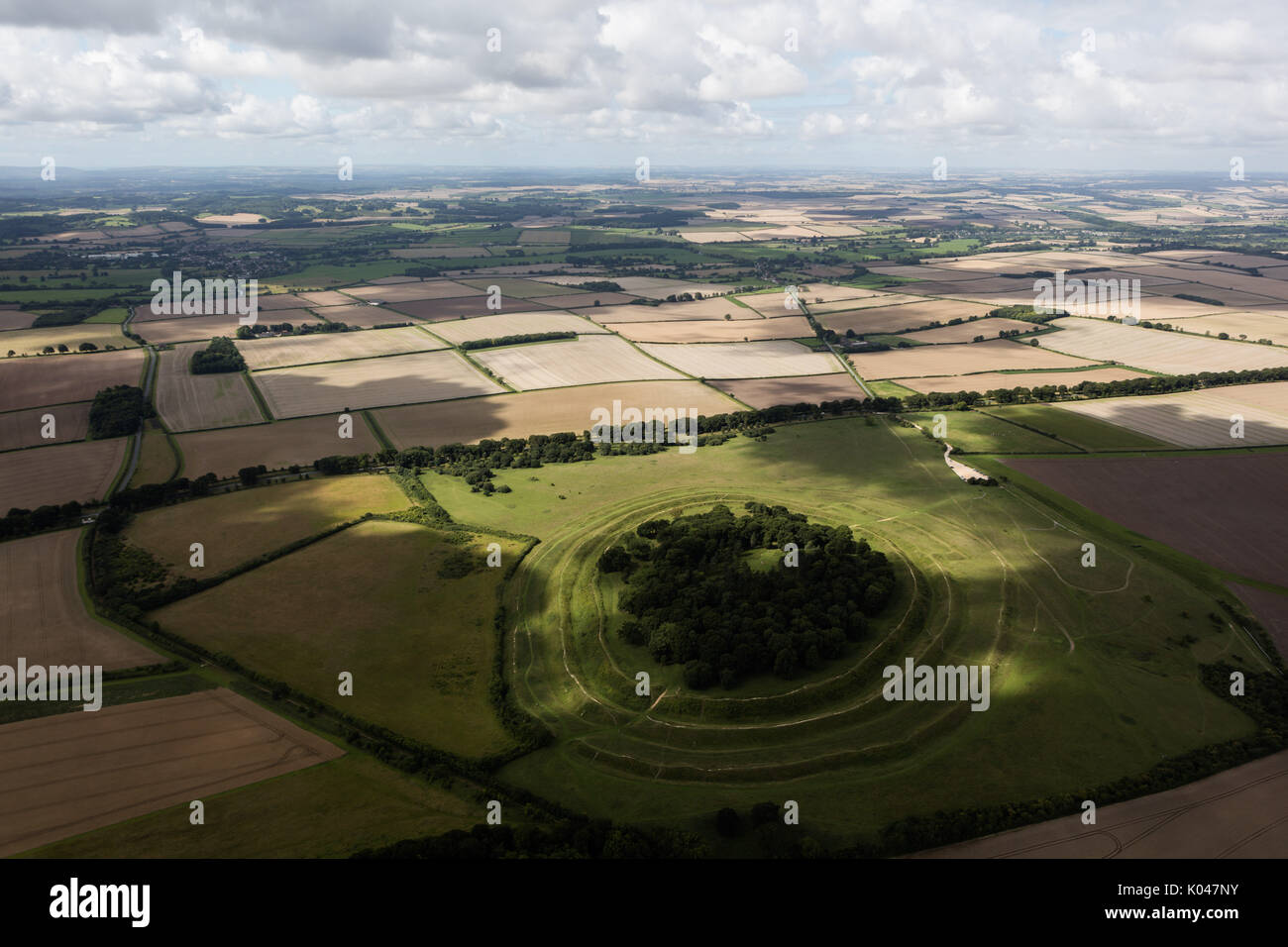An aerial photograph of a Hill Fort in Southern England - Stock Image