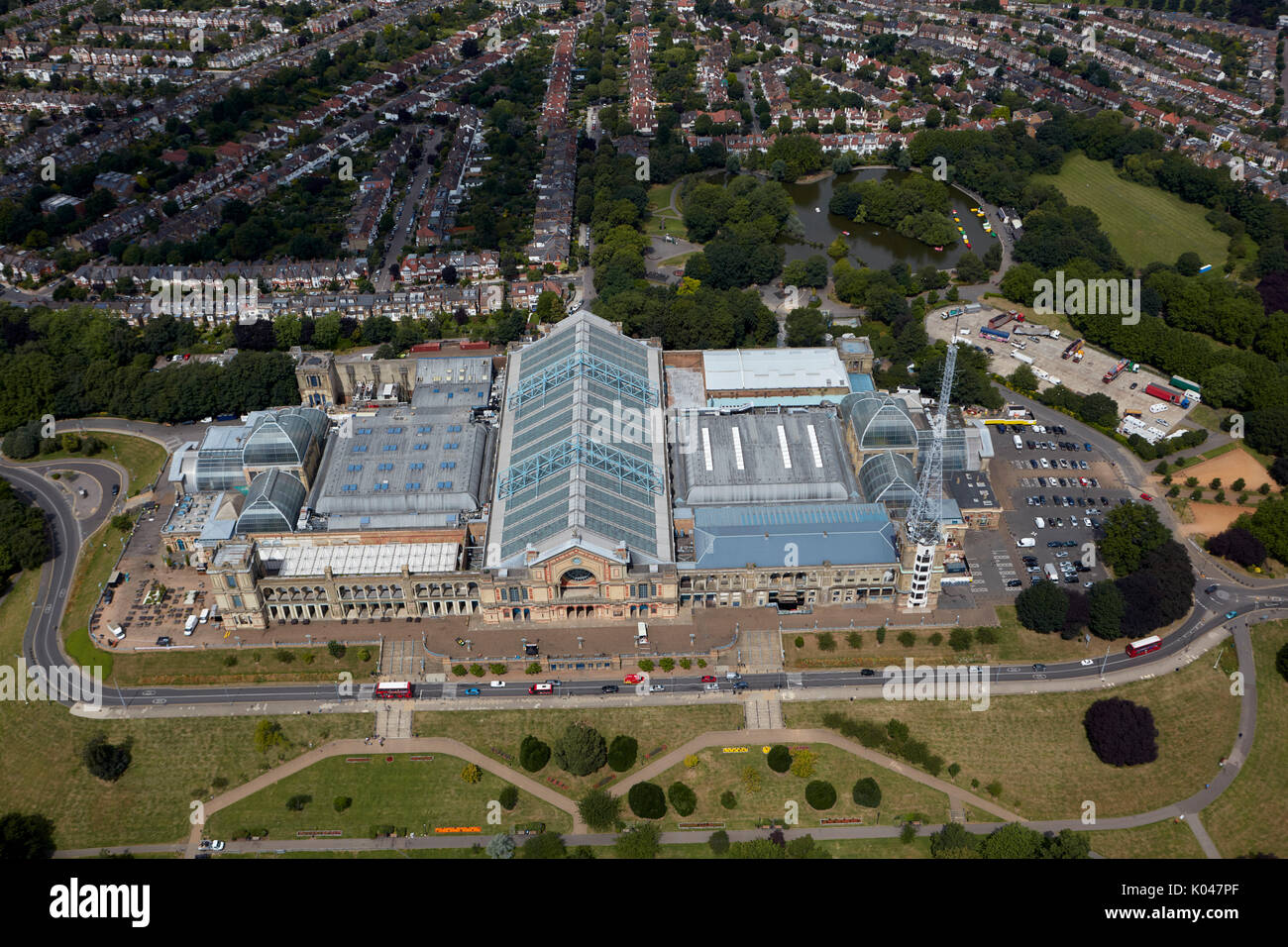 An aerial view of Alexandra Palace, North London - Stock Image