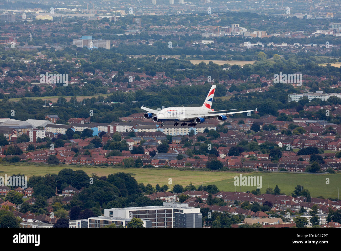 A British Airways Airbus A380 on approach to London Heathrow Airport - Stock Image