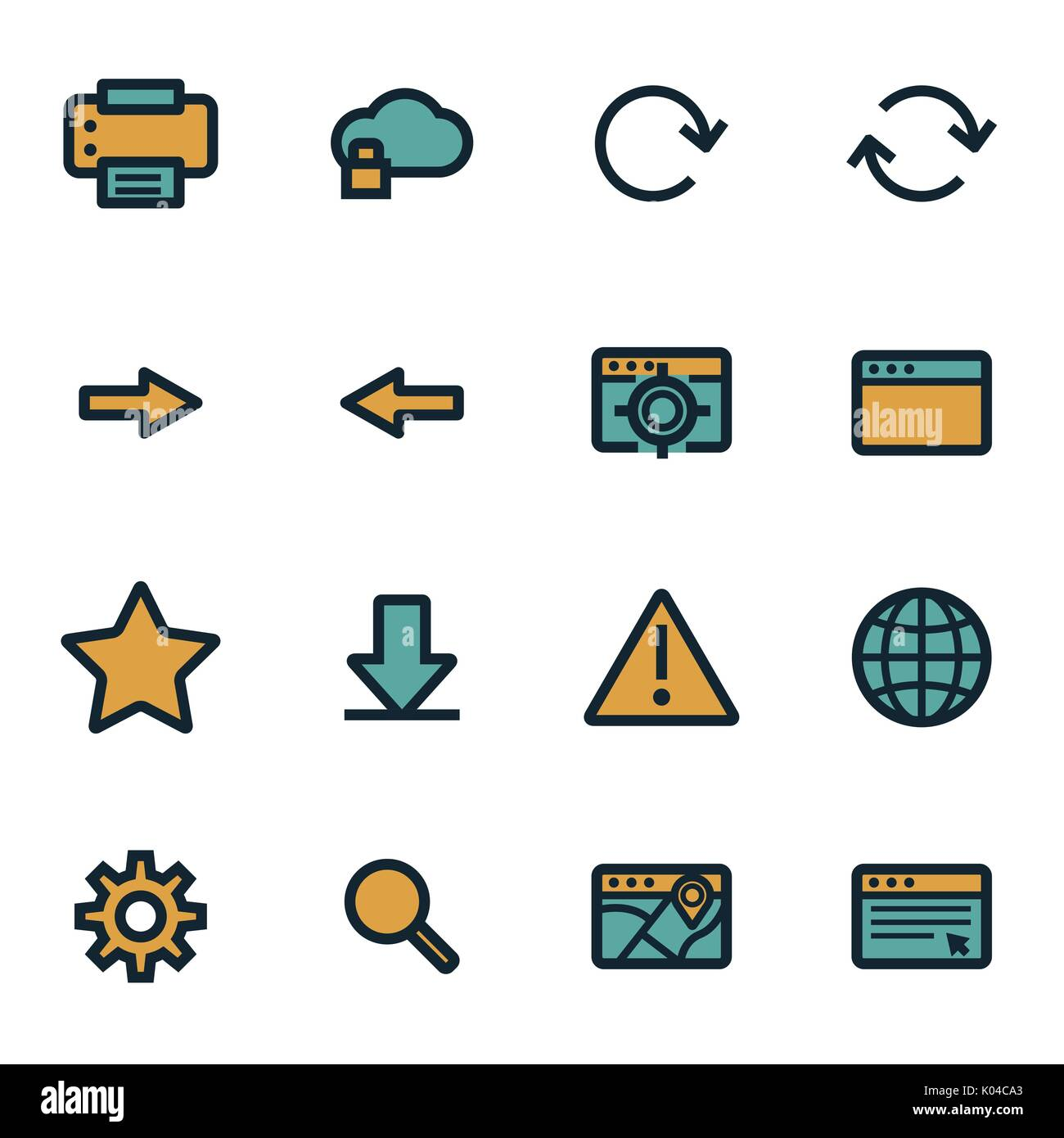 Vector flat browser icons set - Stock Image