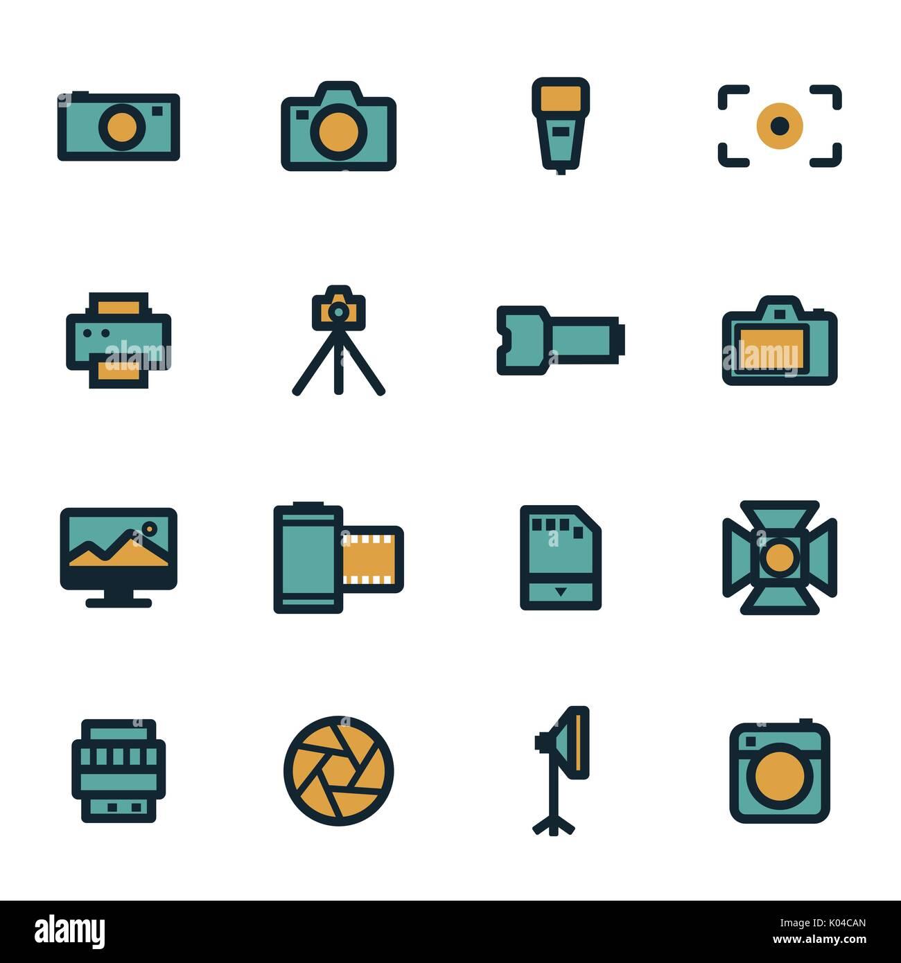 Vector flat camera icons set Stock Vector