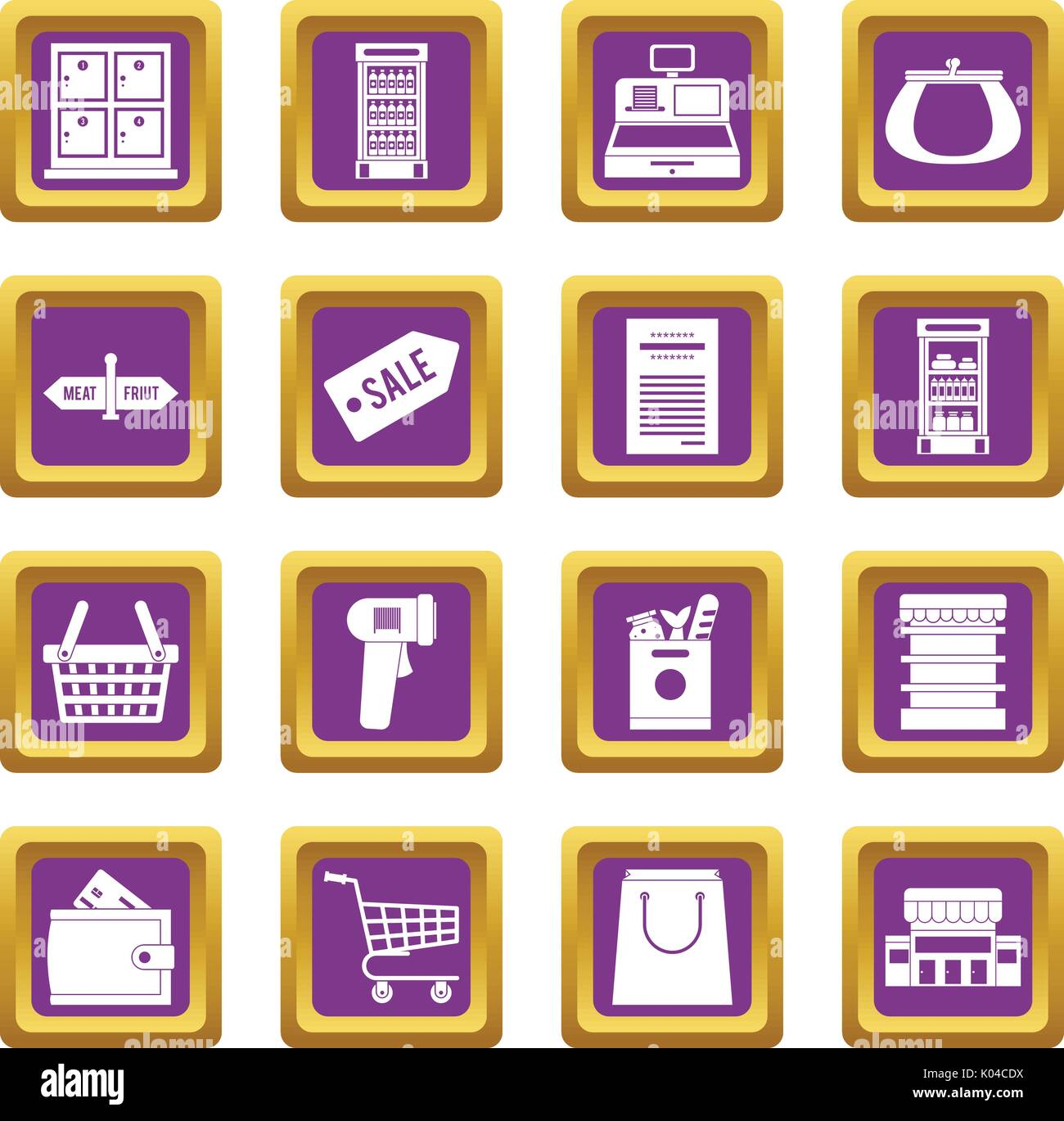 Supermarket icons set purple - Stock Vector