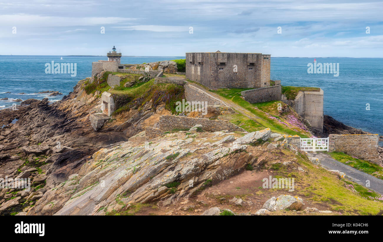 Pointe de Kermorvan, Kermovan Lighthouse, Brittany (Bretagne), France Stock Photo