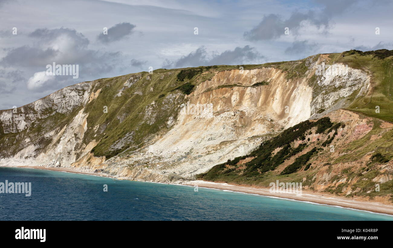 Dramatic landslips on the unstable cliffs of the Jurassic Coastline at Worbarrow Bay, Tyneham, Dorset UK - Stock Image