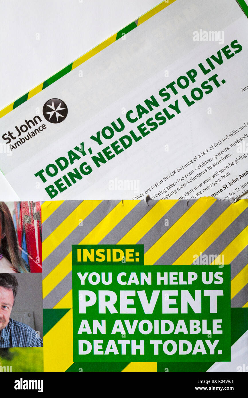 St John Ambulance - inside you can help prevent an avoidable death today - you can stop lives being needlessly lost - information correspondence - Stock Image