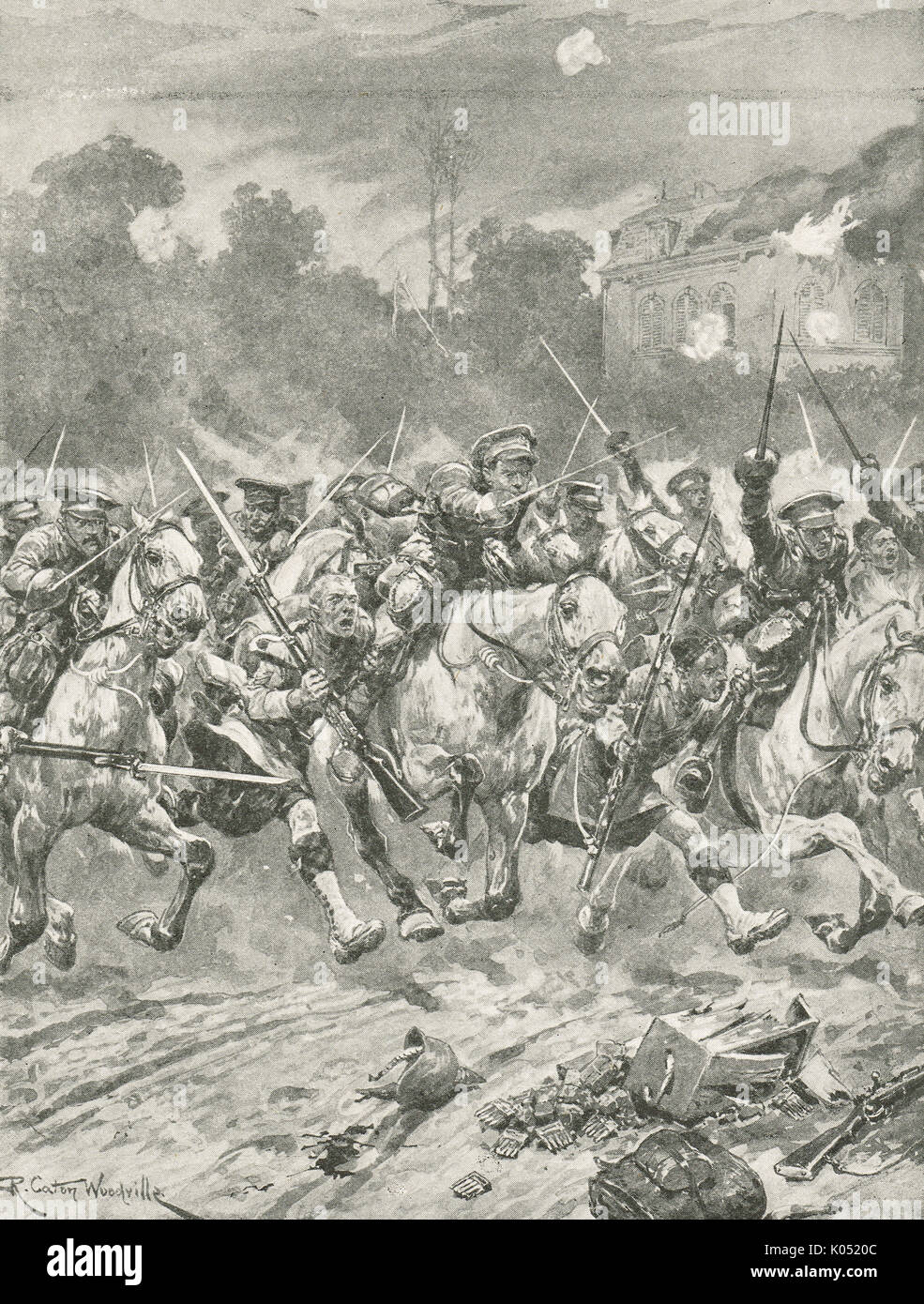 Mythical Stirrup charge at St Quentin, WW1 - Stock Image