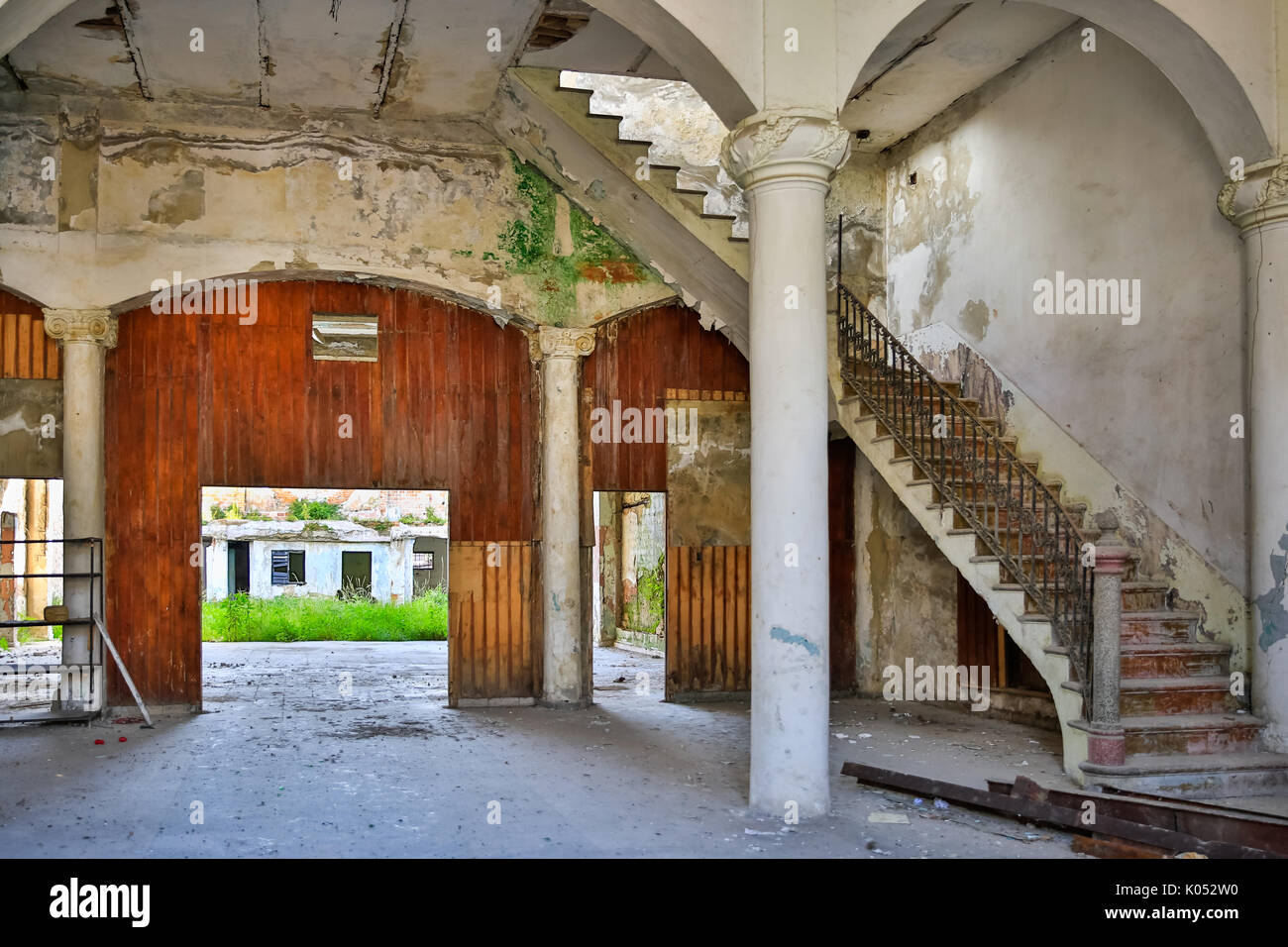 Dilapidated historic architecture in need of renovation in Regla, Havana, Cuba - Stock Image
