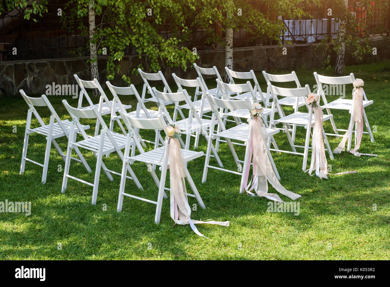 Wood Chairs Outdoor Ceremony: Beautiful Wedding Set Up. Wedding Ceremony In The Garden