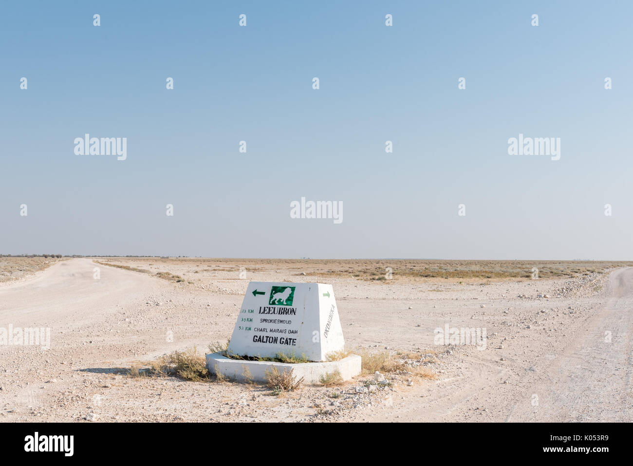 ETOSHA NATIONAL PARK, NAMIBIA - JUNE 26, 2017: A distance sign on the road between the Okaukeujo and Olifantsrus Rest Camps in the Etosha National Par - Stock Image