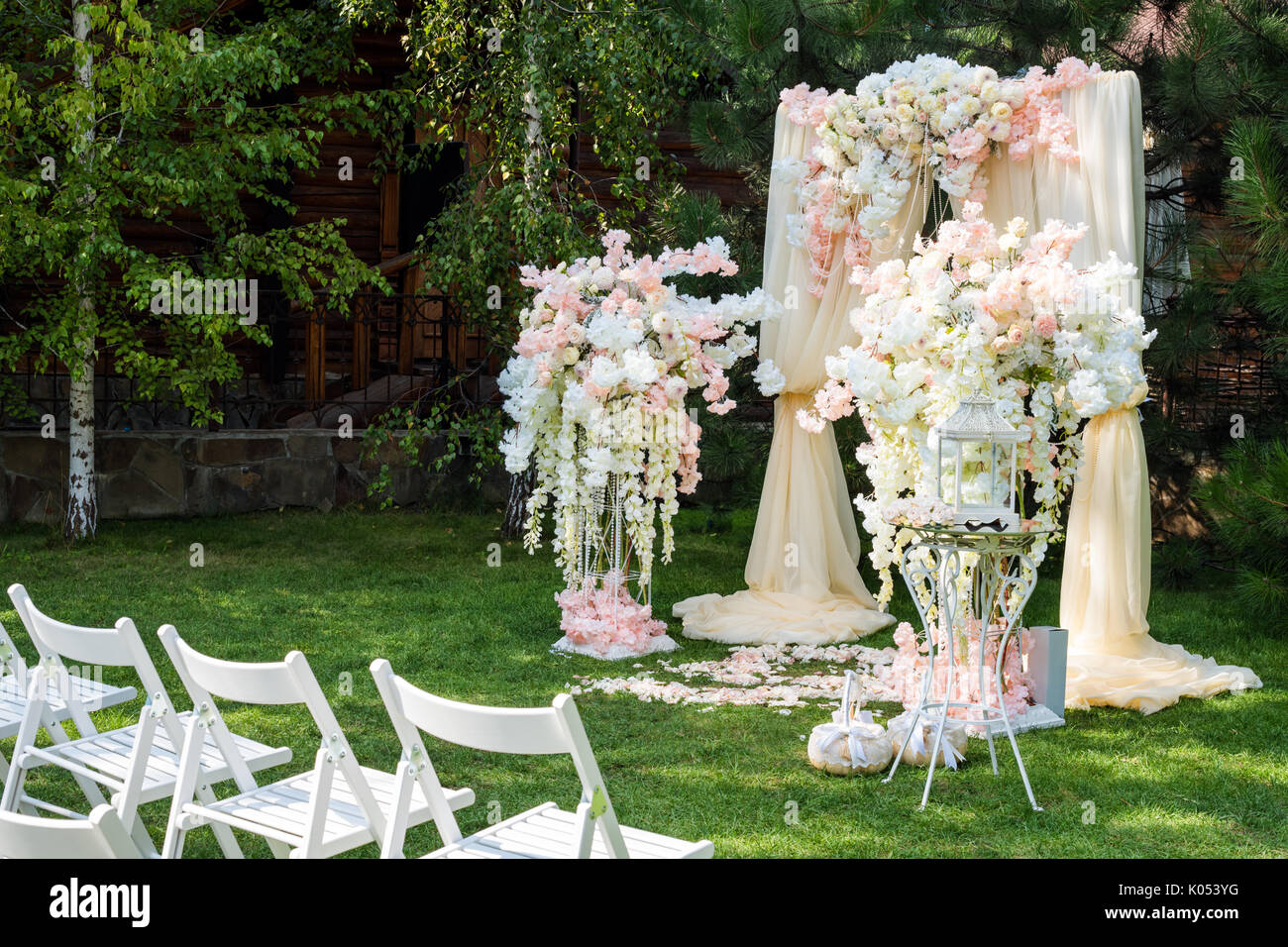 Wedding Arch Decorated With Cloth And Flowers Outdoors Beautiful