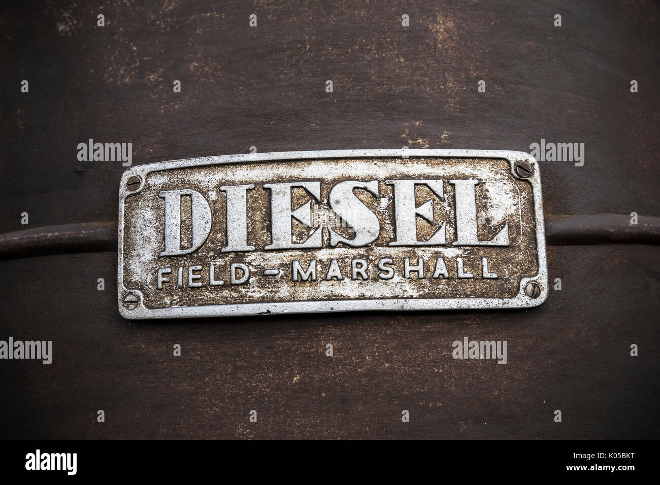 Diesel badge on vintage tractor,Global Warming Potential, or GWP,The diesel engine (also known as a compression-ignition or CI engine) Rudolph diesel. - Stock Image