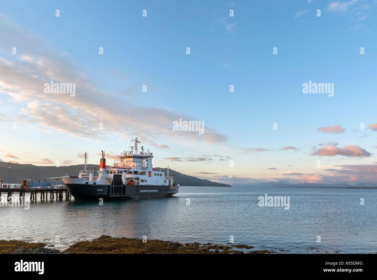 Caledonian MacBrayne (Calmac) ferry at sunset, Craignure, Isle of Mull, Argyll and Bute, Scotland, UK - Stock Image