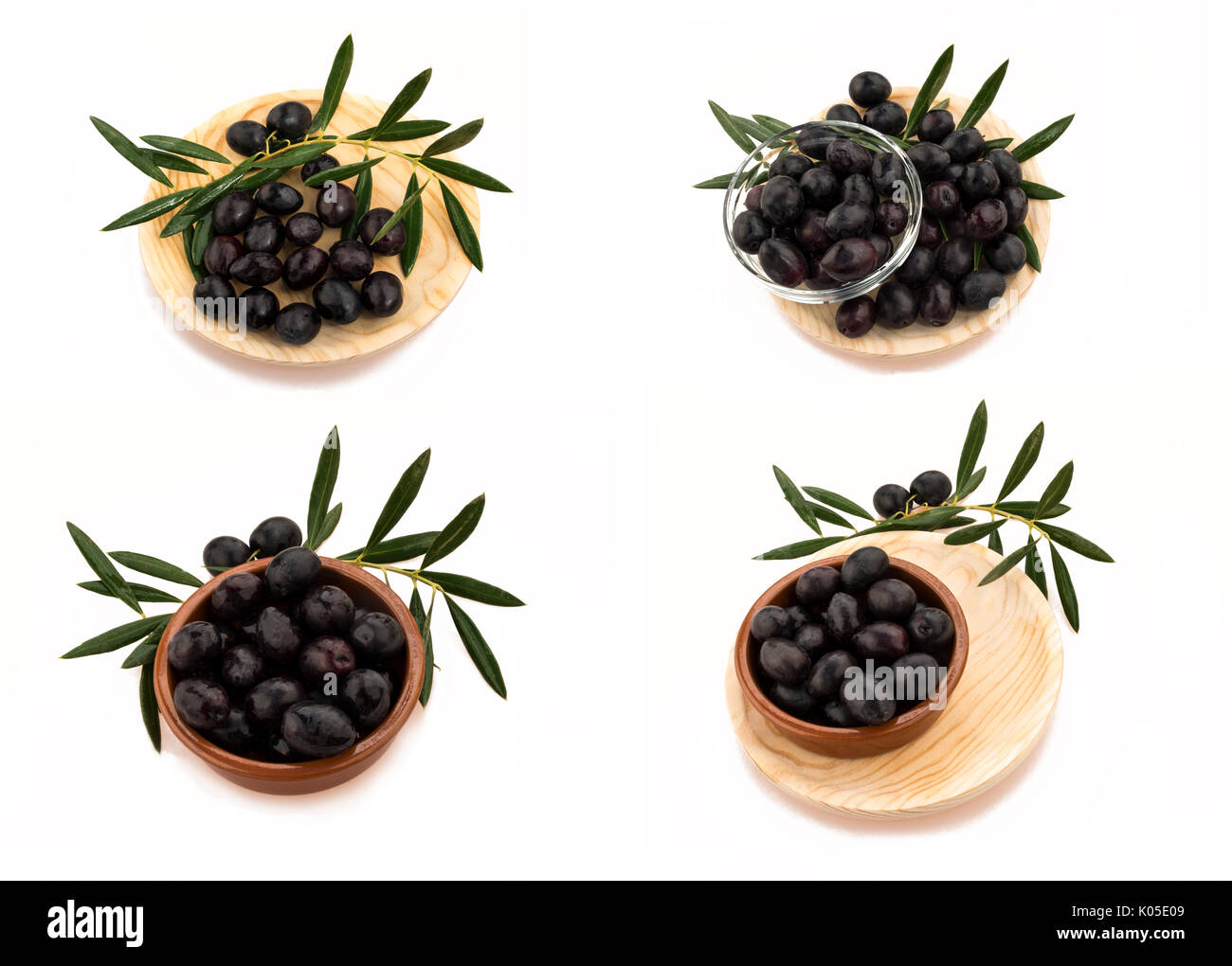 set of four images collection of black olives with greenery  in different combinations, on a isolated white background, - Stock Image
