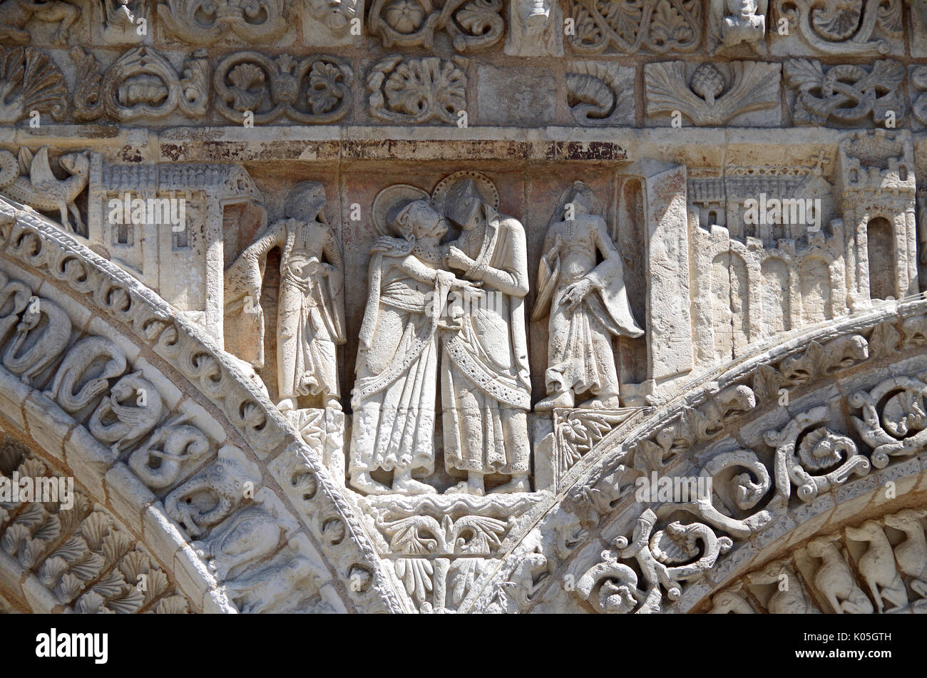 Detail of frieze on West front of Church of Notre Dame le Grande, Poitiers, France, built second half of 11th Century, Stock Photo