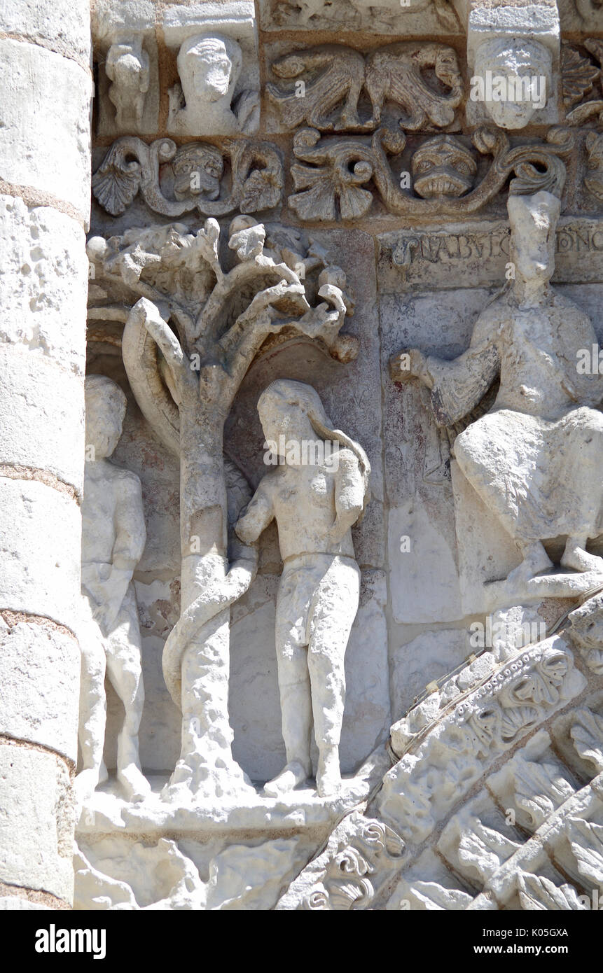 Detail of frieze, West front of Church of Notre Dame le Grande, Poitiers, France, built second half of 11th Century, Stock Photo