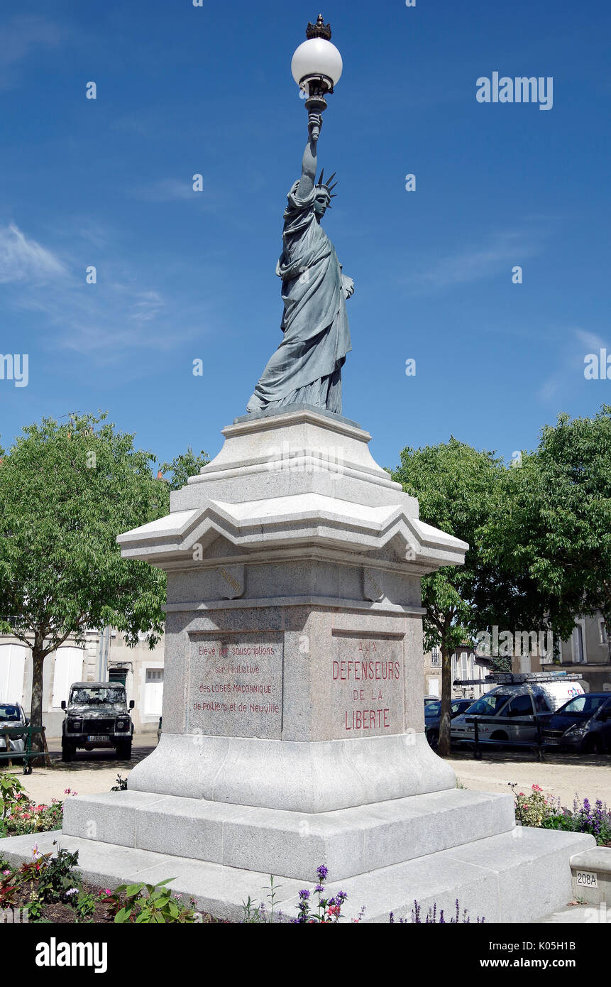 Poitiers, France, Replica of the Statue of Liberty, dedicated to the Defenders of Liberty, and commemorating Jean-Baptiste Breton. - Stock Image