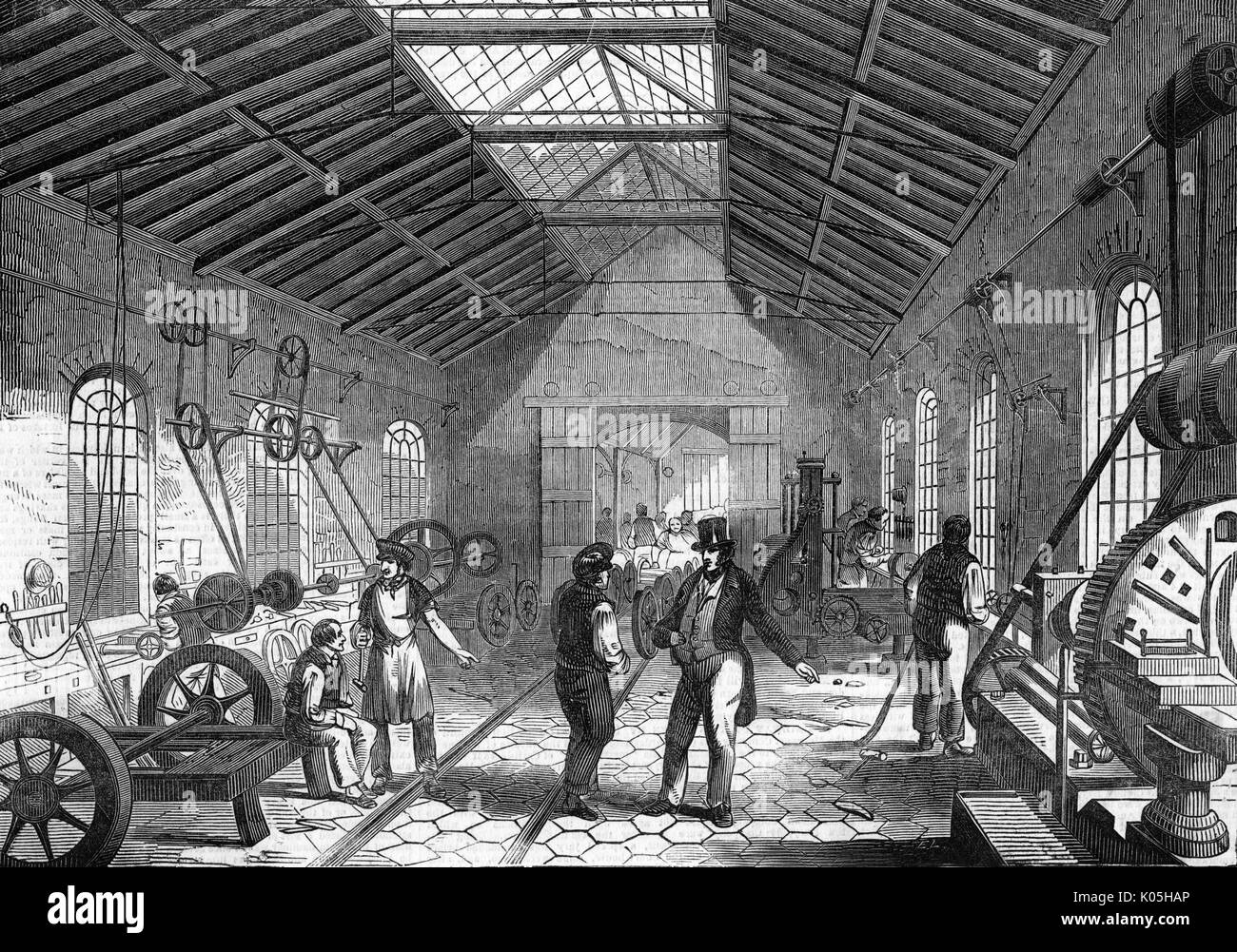 Grand Junction Railway engine- works at Crewe : the erecting  shop        Date: 1849 - Stock Image