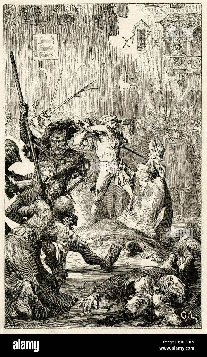 Bloodbath in the streets of Stockholm as the supporters of Albrecht von Mecklenburg resist those of Margaret, Regent of Denmark and Norway.      Date: 12 June 1389 - Stock Image