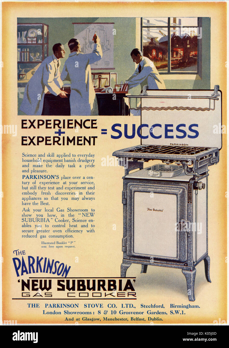The Parkinson 'New Suburbia' gas cooker - tested by scientists !        Date: 1929 - Stock Image