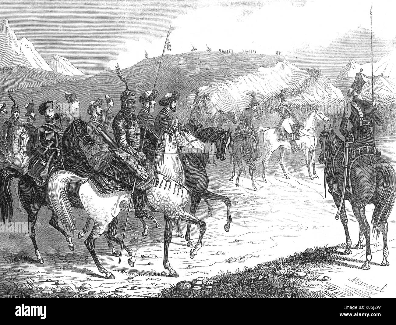 Russian troops assemble for  the Caucasus campaign.         Date: 1846 - Stock Image