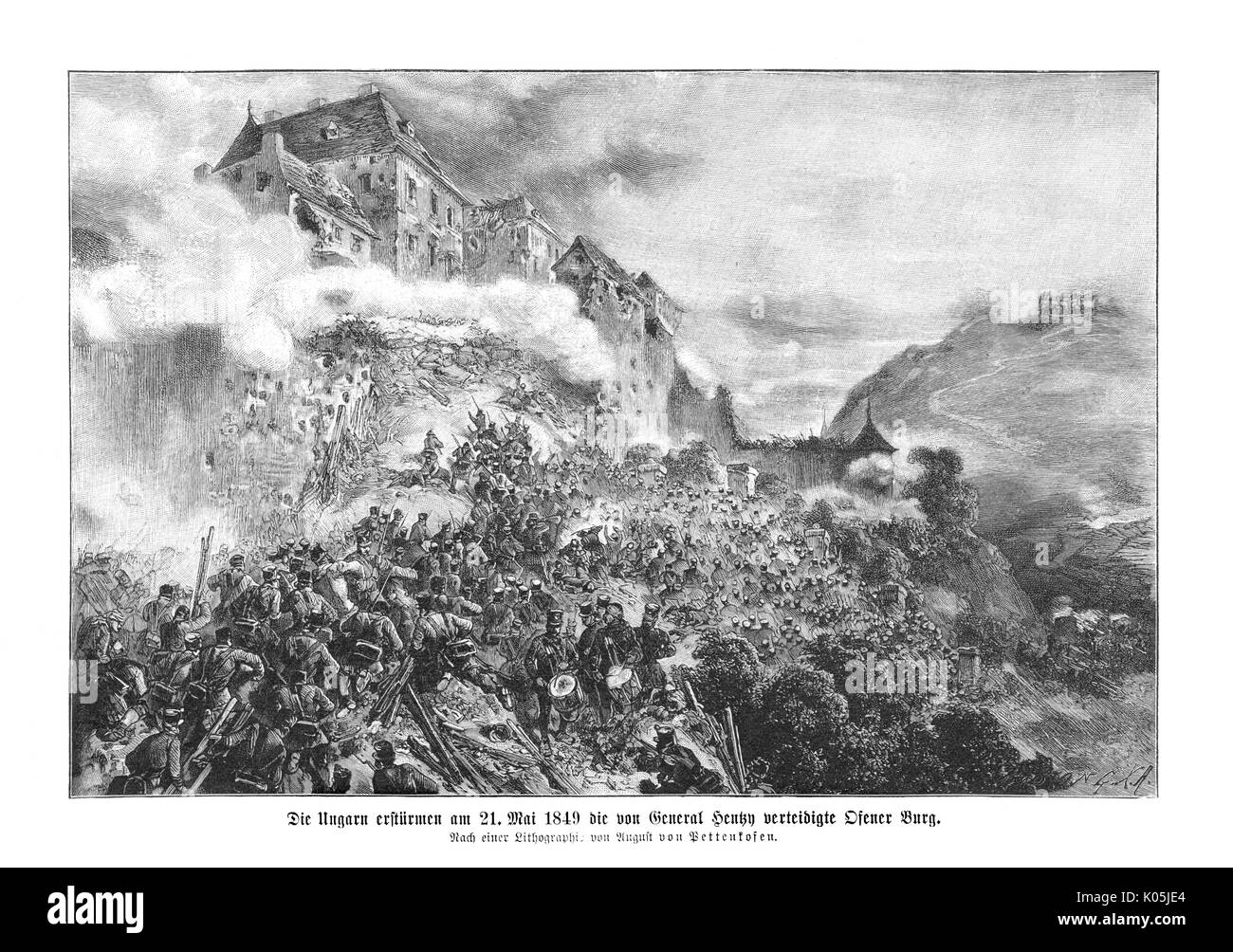 Hungarian rebels storm Ofen  (also known as Buda) on 21st  May 1849        Date: 1849 - Stock Image