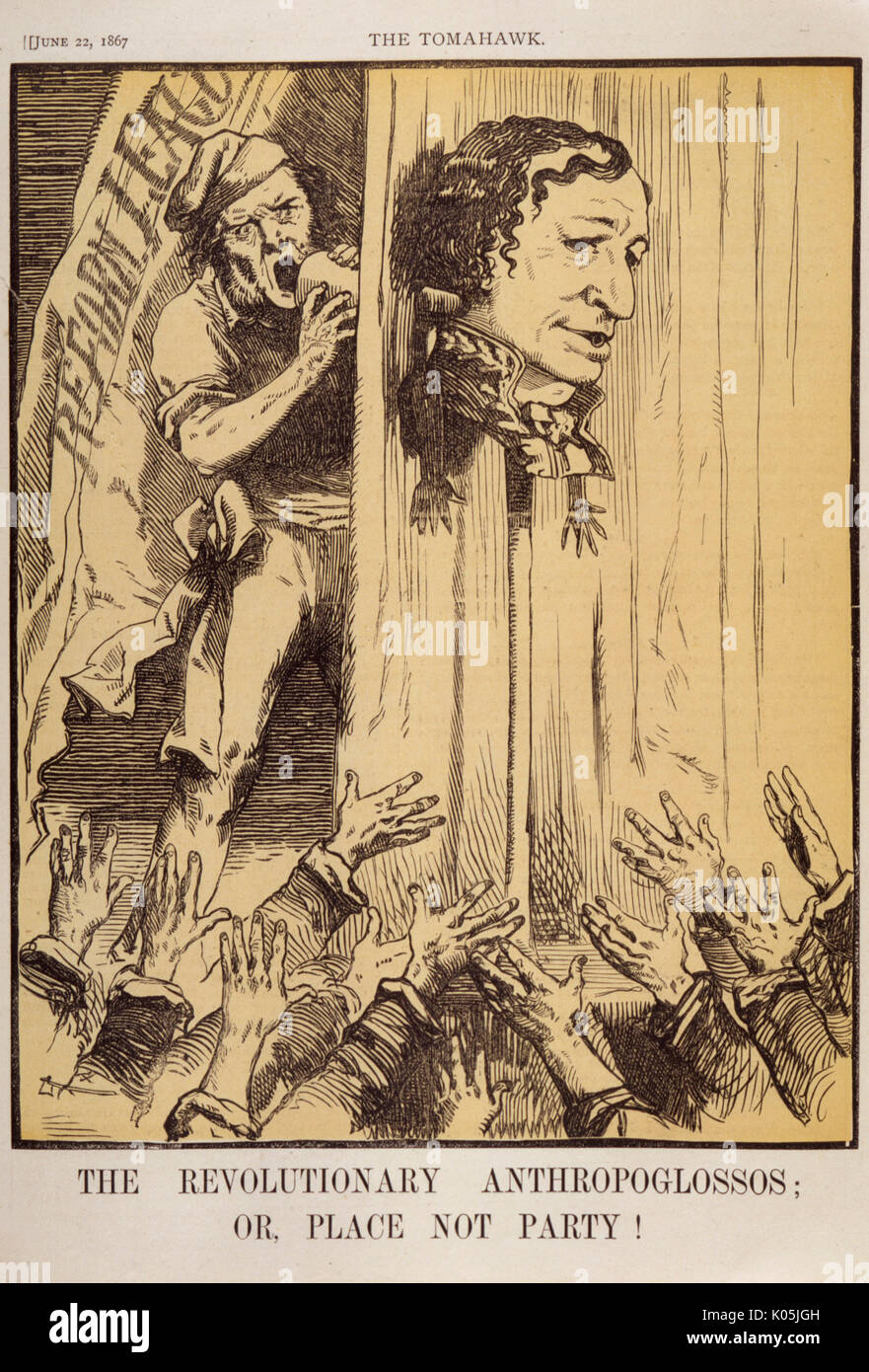 Benjamin Disraeli, earl of Beaconsfield  depicted as the mouthpiece of the Reform League mob      Date: 1804 - 1881 - Stock Image