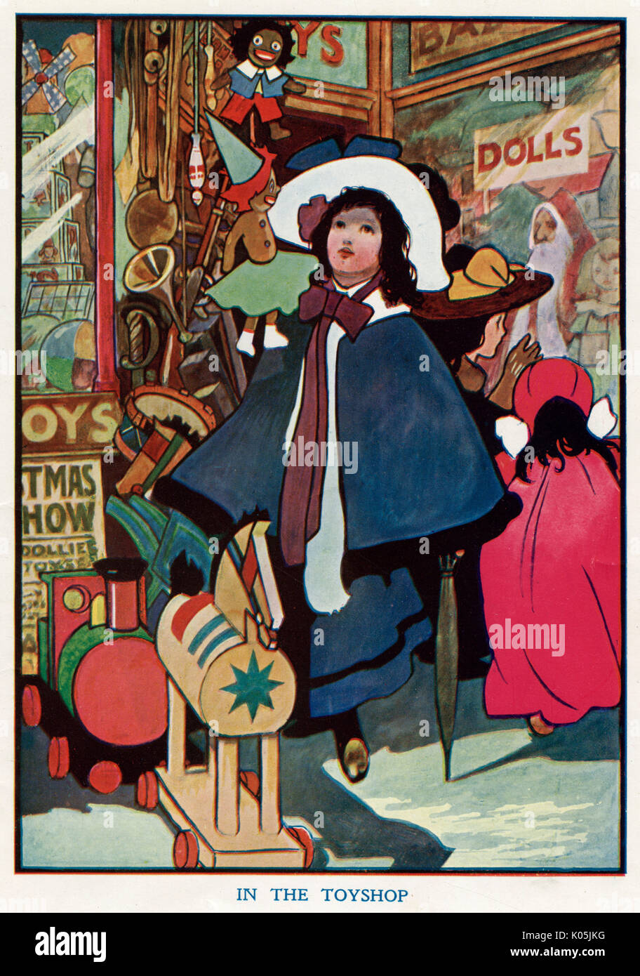 A young girl is entranced by what she finds inside a toy shop.       Date: 1906 - Stock Image