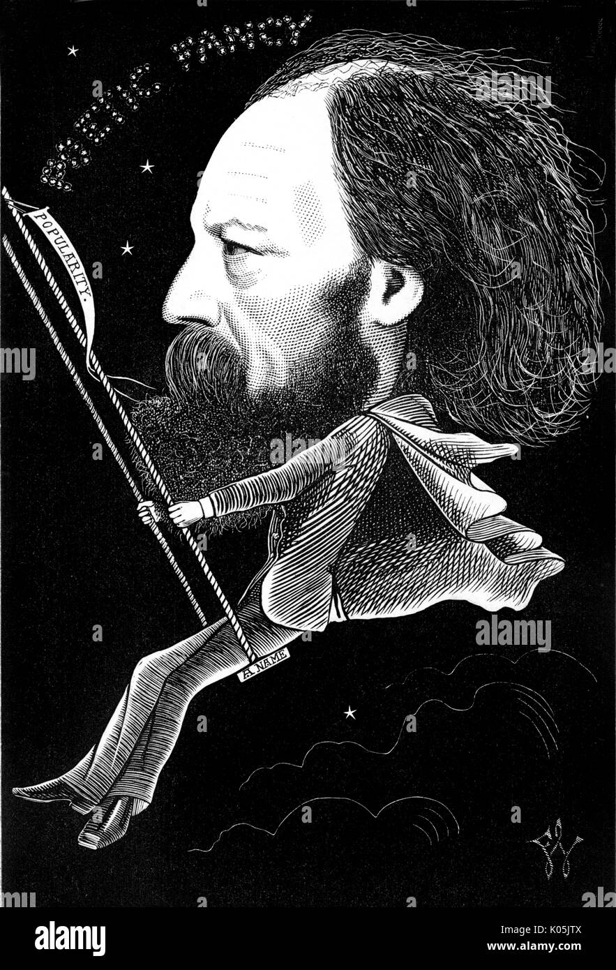 Alfred lord Tennyson (1809 - 1892) the English poet and Poet Laureate whose poetic fancy has helped him make a name for himself on the swing of  popularity     Date: - Stock Image