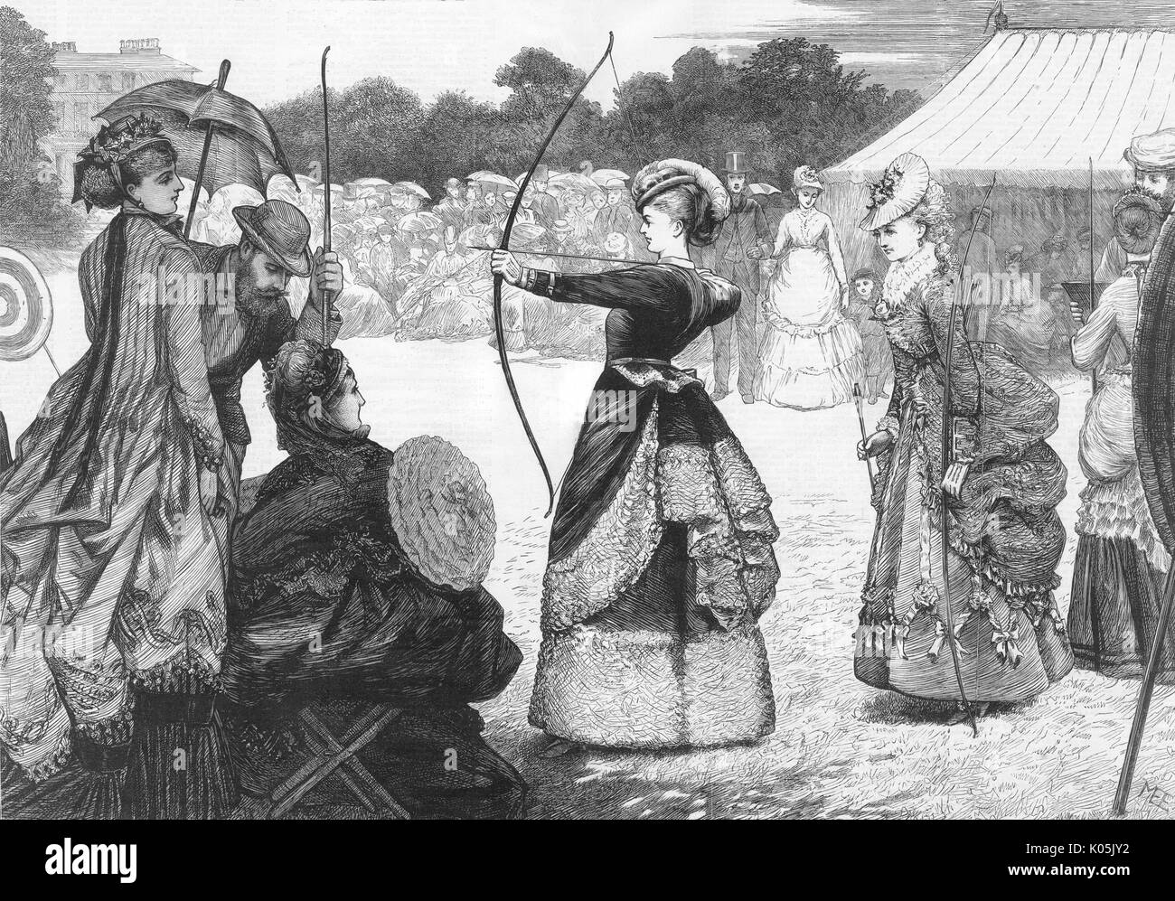 The Grand National archery  meeting is held at the  Shrublands, Leamington (Warwickshire)       Date: 1873 Stock Photo