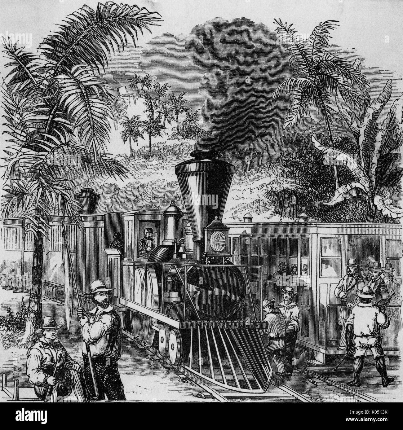 Passengers meet a train on a  jungle track, somewhere in  South America.        Date: 1886 - Stock Image