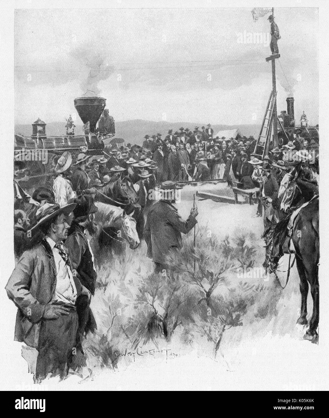 Completion of the Union  Pacific Railroad, the first transcontinental rail link,  completed at Promontory Point, Utah - driving home  the last spike     Date: 10 May 1869 - Stock Image