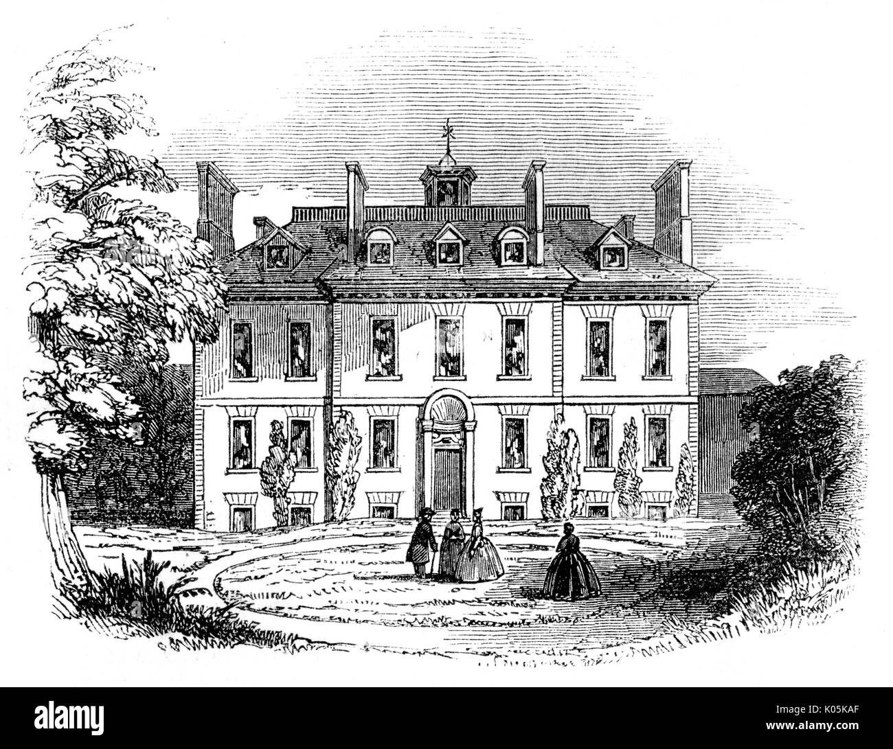 Isaac Watts (1674 - 1748) Abney House, Stoke Newington, home of the divine and writer       Date: - Stock Image